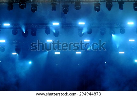 BONTIDA, ROMANIA - JUNE 28, 2015: Stage lights during a live concert at Electric Castle festival - stock photo