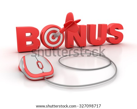 BONUS Word with Computer Mouse and Target - High Quality 3D Render - stock photo