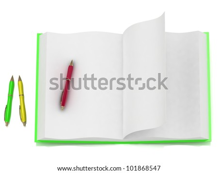 Book a green cover and three pens - stock photo