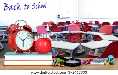book and classroom for education or back to school concept - stock photo