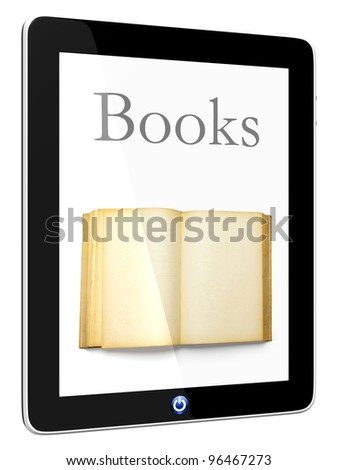Book and computer 3D model isolated on white, digital library concept, Objects with Clipping Paths - stock photo