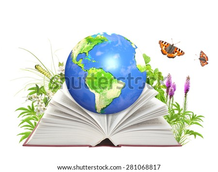Book and Earth. Isolated on white background. Elements of this image furnished by NASA  - stock photo
