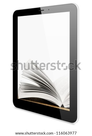 Book and tablet computer, 3d model isolated on white, digital library concept - stock photo