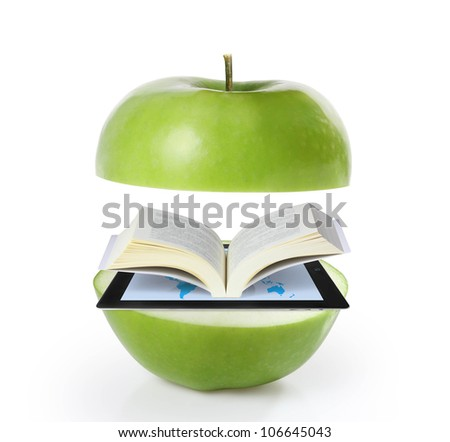 Book and tablet  green  apple model isolated on white - stock photo