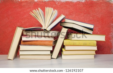 book arrangement, one opened - stock photo