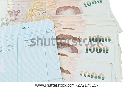 book bank with Thai money ready to rich on white background - stock photo