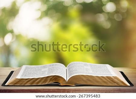 Book, Bible, Open. - stock photo