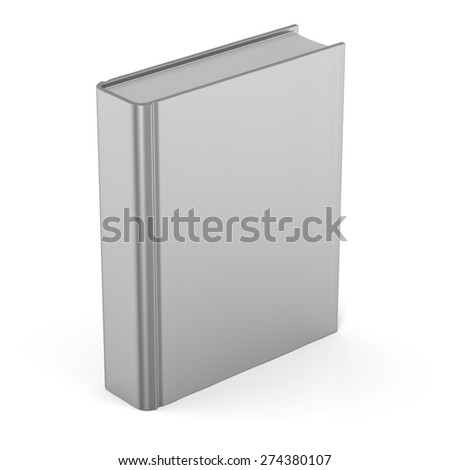 Book blank clean empty template single brochure hard cover textbook cookbook workbook notebook knowledge content information. 3d render isolated on white background - stock photo