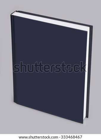 Book - blue book with blank hard cover, standing - stock photo