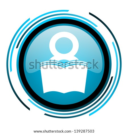 book blue circle glossy icon  - stock photo