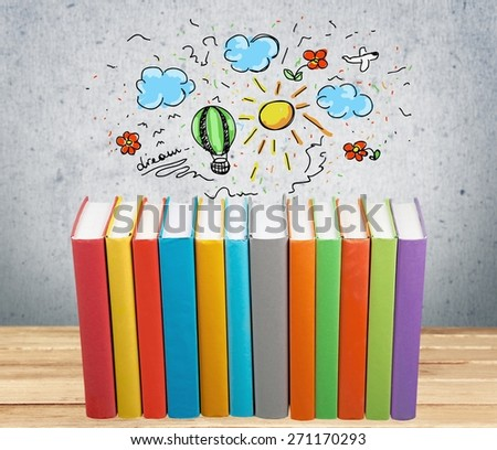Book, Book Spine, Library. - stock photo