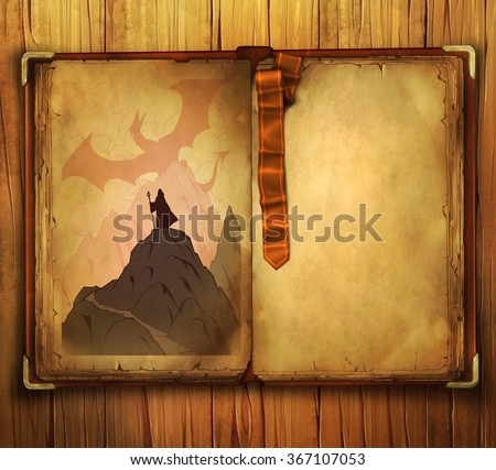 Book fantasy illustration of a fire dragon spreading its wings above the mountains where the man wearing cloak stands - stock photo