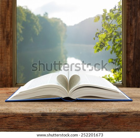 book heart shape page open window summer river view - stock photo