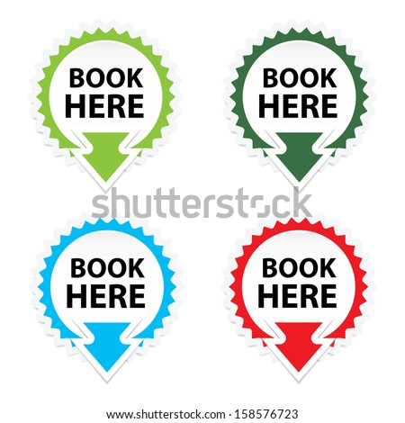 Book Here button, icon, sticker or symbols on white background - jpeg format. - stock photo