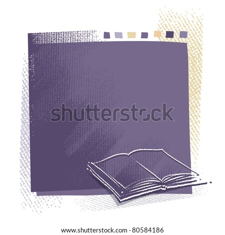 Book icon background (blank space for text, grunge)  (raster version) - stock photo