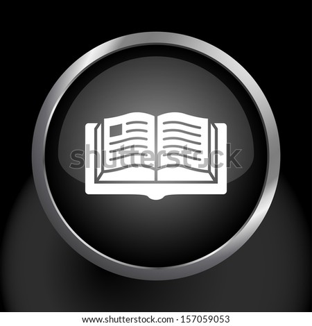 Book Icon Symbol with Glass Background.  Raster version. - stock photo
