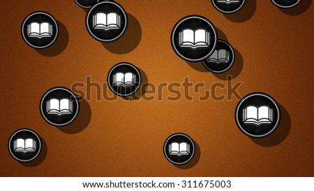 Book icons. Proportion 16:9 - stock photo