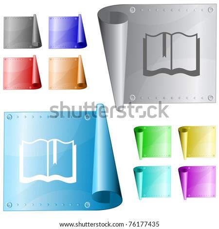 Book. Metal surface. Raster illustration. Vector version is in my portfolio. - stock photo