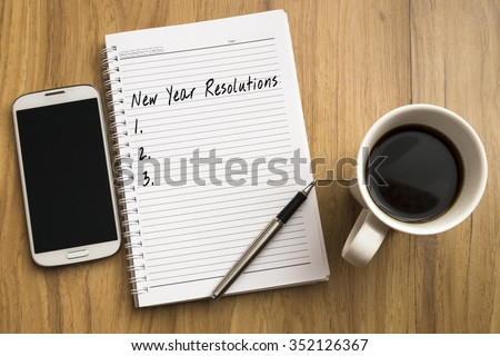 Book, New Year Resolutions - stock photo