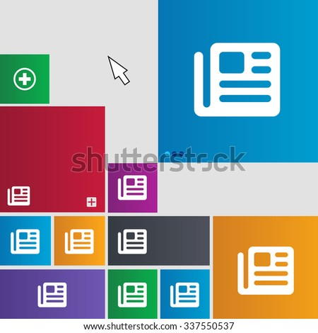 book, newspaper icon sign. buttons. Modern interface website buttons with cursor pointer. illustration - stock photo