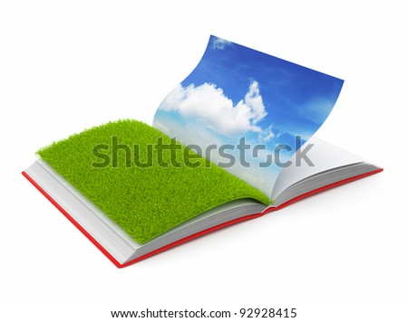 Book of  nature 3D. Photo album. Isolated on white background - stock photo