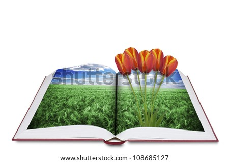 Book of nature Isolated on white - stock photo