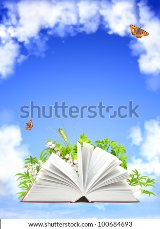 Book of nature. On blue sky - stock photo
