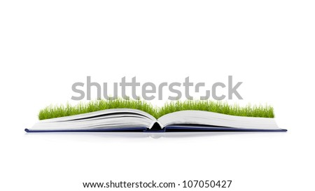book of nature on white background - stock photo