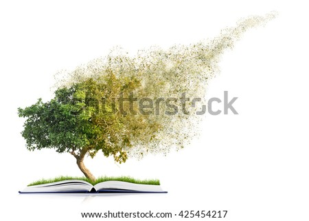 book of nature with grass and tree growth and disintegrate, isolated on white background - stock photo