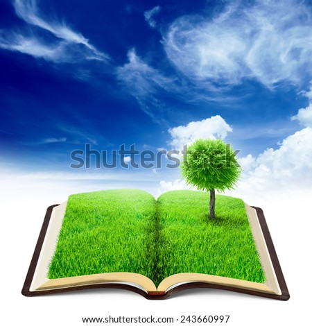 book of nature with grass and tree over beauty sky background - stock photo