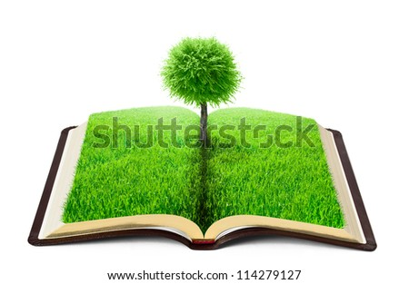 book of nature with grass and tree over white background - stock photo