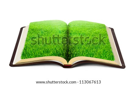 book of nature with grass isolated on white background - stock photo