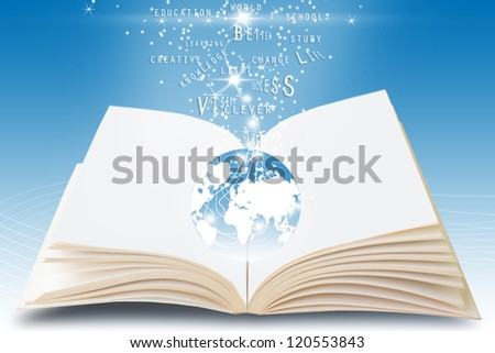 Book Open With Planet Earth  Concept - stock photo