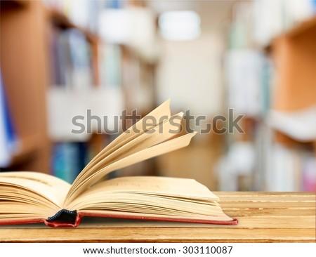 Book, reading, glasses. - stock photo