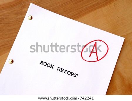 Book Report A on Desk - stock photo