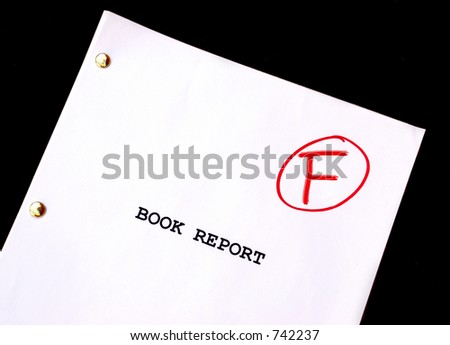 Book Report F on Black Background - stock photo