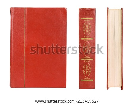 book set red color isolated on white - stock photo