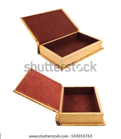 Book shaped secret casket or jewelry box isolated over white background, two foreshortenings - stock photo