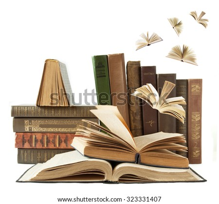 Book shelf with books flying away isolated on white background. Education concept - stock photo