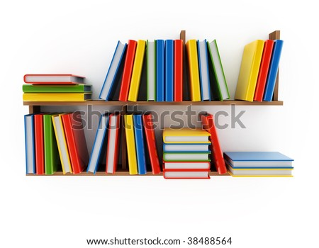 Book shelf with various books on a white background - stock photo