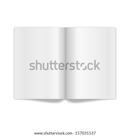 Book Spread With Blank White Pages. Raster version - stock photo