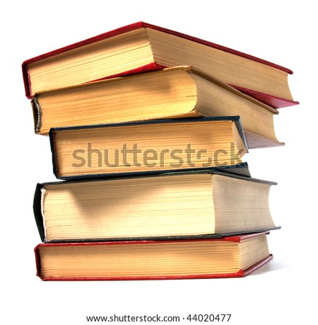 book stack isolated on the white - stock photo