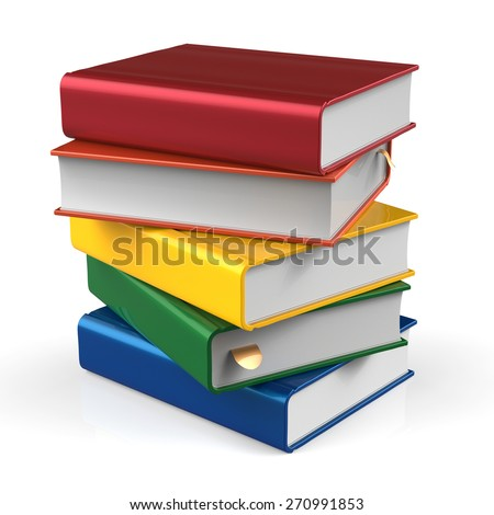 Book stack of books blank covers colorful textbook bookmark. School studying information content learn icon concept. 3d render isolated on white background - stock photo
