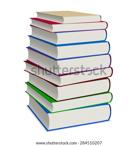 Book stacked on white background with clipping path, illustration - stock photo