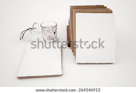 Book template with white cover and many old of book - stock photo