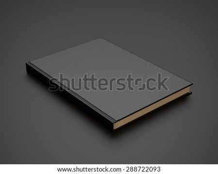book with black blank cover. 3d render - stock photo