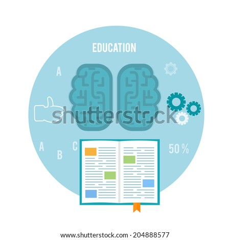 Book with brain. Education concept in flat design. Raster version - stock photo