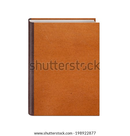 Book with brown leather hardcover isolated on white background - stock photo