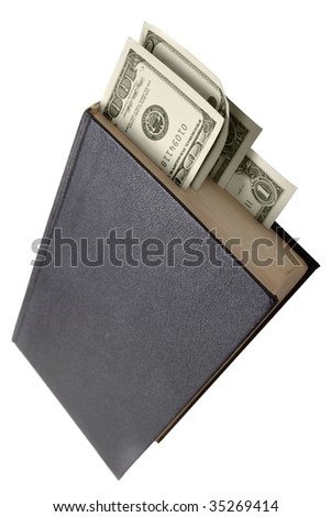 Book with dollars as bookmarks isolated over the white background - stock photo