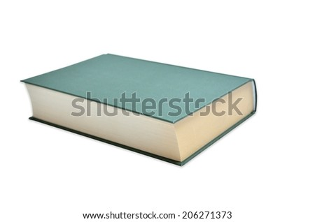Book with green binding isolated on white background - stock photo